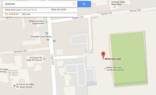 Le site Google Map renvoyant sur le stade de Tottenham lorsque la requête est