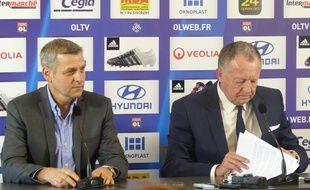 Bruno Genesio et Jean-Michel Aulas, ce lundi lors d'une conférence de presse de l'OL.