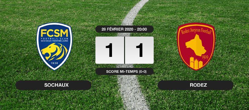Ligue 2, 27ème journée: Match nul entre Sochaux et Rodez (1-1)