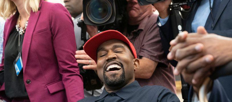 Le candidat à la présidentielle américaine Kanye West lors de sa visite à la Maison Blanche en 2018