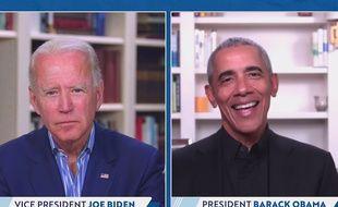 Joe Biden et Barack Obama lors d'une levée de fonds virtuelle, le 23 juin 2020.