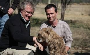 Ben Stassen (à gacuhe) sur le tournage d'African Safari 3-D