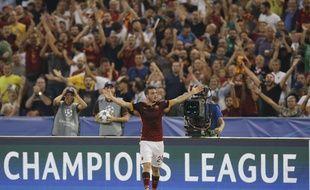 Alessandro Florenzi après avoir inscrit un magnifique lob de 40 mètres lors de Roma-Barcelone (1-1) en Ligue des champions, le 16 septembre.
