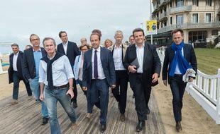 Les députés «Constructifs» Stéphane Demilly (au premier plan), Olivier Becht, Jean-Christophe Lagarde, Franck Riester, Thierry Solère et Pierre-Yves Bournazel à Trouville, le 6 septembre 2017.