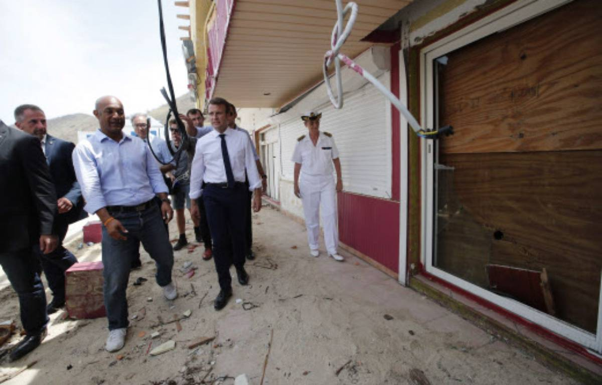 Emmanuel Macron à Saint-Martin après le passage de l'ouragan Irma – ENA-POOL/SIPA
