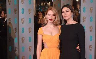 Léa Seydoux et Monica Bellucci aux BAFTA en février 2015