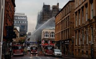 La Glasgow School of Art en feu, le 16 juin 2018, à Glasgow, en Ecosse.