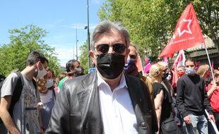 Jean-Luc Mélenchon, lors de la manifestation le 29 mai 2021 dans la capitale pour le 150e anniversaire de la Commune de Paris.