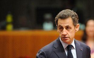 Nicolas Sarkozy à Bruxelles pour le Conseil européen le 16 décembre 2010.