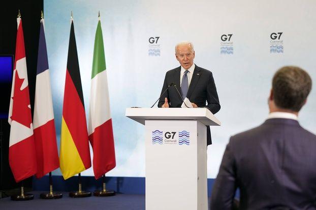 Le président américain Joe Biden lors d'une conférence à la fin du G7 dimanche 13 juin 2021.