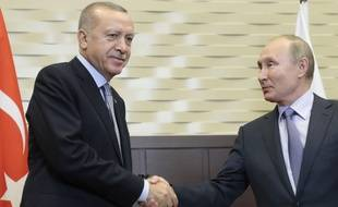 Recep Tayyip Erdogan et Vladimir Poutine à Sochi, le 22 octobre 2019.