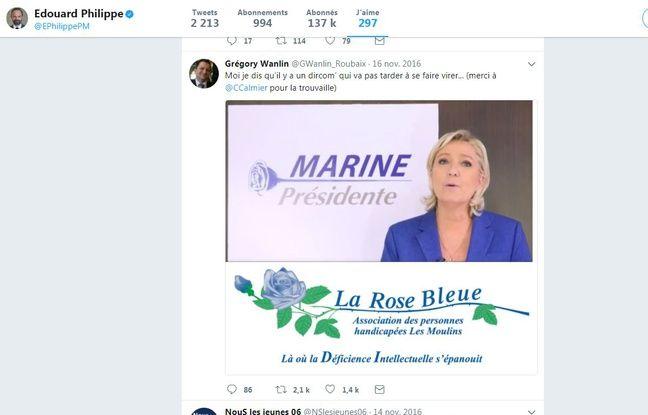 Le tweet liké par Edouard Philippe sur Marine Le Pen.