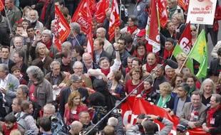 Jean-Luc Mélenchon dans le cortège de la «marche citoyenne» organisée par le Front de gauche le 5 mai 2013 à Paris.