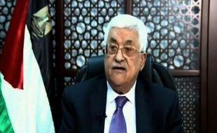 Capture d'écran de la TV palestinienne de Mahmoud Abbas lors d'un discours le 14 octobre 2015 à Ramallah