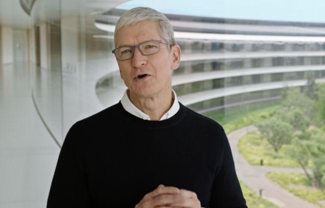 Tim Cook, le PDG d'Apple, pour une keynote de renrée confinée.