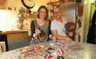 A Nantes le 18 janvier 2015- Marc et Celine Demonfaucon sont les createurs d une pince a jupe a velo, le Poupoupidou