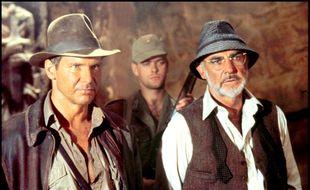 Les acteurs Harrison Ford et Sean Connery dans «Indiana Jones et la dernière croisade»