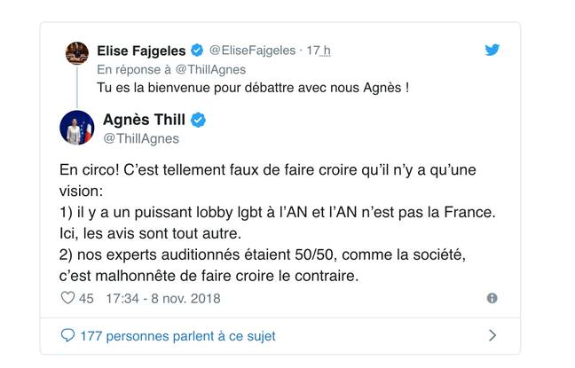 Capture d'écran du tweet publié par la députée Agnès Thill sur son compte, le 8 novembre 2018.