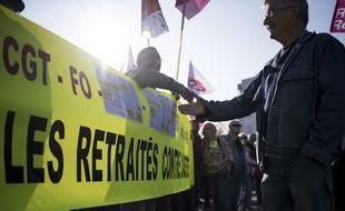 Manifestation des retraités à Nantes contre la politique du gouvernement, le 9 octobre 2018.