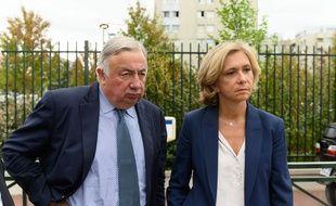 Gérard Larcher et Valérie Pécresse, deux ténors de la droite, au Blanc-Mesnil (Seine-Saint-Denis) le 12 septembre 2019.