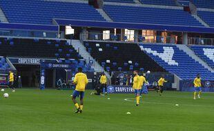 Les joueurs de Sochaux à l'échauffement avant un match de Coupe de France, en mars 2021.