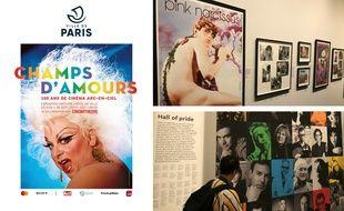 L'affiche de l'exposition «Champs d'amour». En haut à dr.: l'un des espaces de l'expo, avec, au premier plan, l'affiche de «Pink Narcissus». En bas : un «mur des fiertés» composé de portraits d'artistes LGBT.