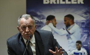 Jean-Michel Aulas, ici lors d'une conférence de presse, deux jours avant l'inauguration du Parc OL.