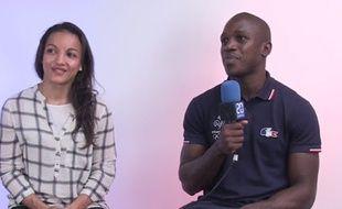 Les boxeurs Sarah Ourahmoune et Souleymane Cissokho, médaillés aux JO de Rio, dans les locaux de 20 Minutes le 24 août 2016.