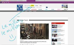 Sur Windows 10, le navigateur Edge permet d'annoter une page Web.