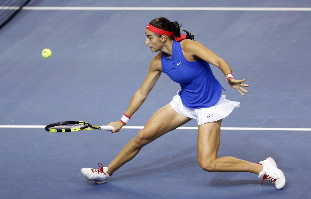 Caroline Garcia lors de la finale de Fed Cup entre la France et la République Tchèque, le 13 novembre 2016 à Strasbourg.  –  Jean-Francois Badias/AP/SIPA