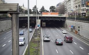 Le 22 janvier 2014. Le tunnel du Landy a Saint-Denis couvre une partie de l'autoroute A1.