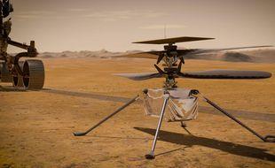 Une illustration de l'hélicoptère Ingenuity, lancé le 30 juillet 2020 avec le rover Perseverance direction Mars dans le cadre d'une mission de la Nasa.