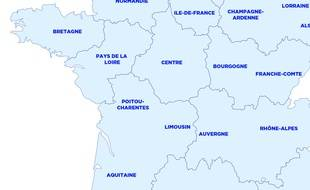 Carte des 13 nouvelles régions