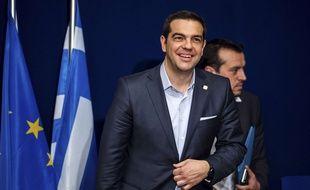 Le Premier Ministre Alexis Tsipras lors d'une conférence de presse jeudi 12 février à Bruxelles.