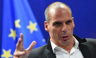 Le ministre grec des Finances Yanis Varoufakis tient une conférence de presse, le 20 février 2015 à Bruxelles