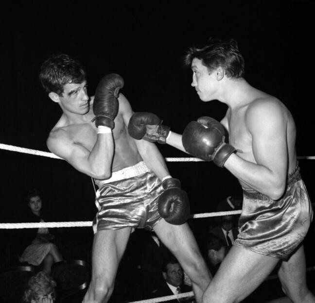 Jean-Paul Belmondo, during a professional match in the 60s in Paris.