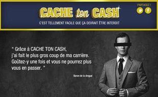 Capture d'écran du faux site cache-ton-cash.com