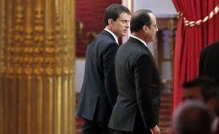 Manuel Valls et François Hollande à l'Elysée le 5 février 2015.
