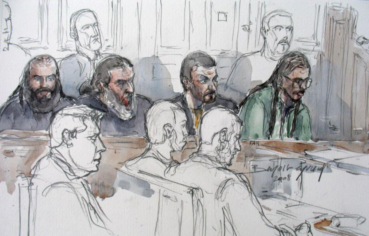 Dessin de Farid Benyettou lors de son procès en mars 2008 à Paris.  – AFP