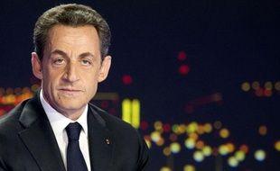 Nicolas Sarkozy sur le plateau du journal télévisé de TF1, le 15 février 2012.