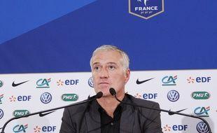 Le sélectionneur de l'équipe de France Didier Deschamps en conférence de presse, le 13 novembre 2014, à Rennes.