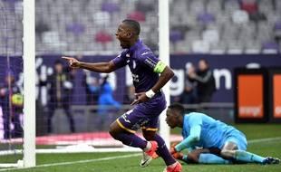Max-Alain Gradel, auteur de l'égalisation du TFC contre Reims, le 10 février 2018 au Stadium de Toulouse.
