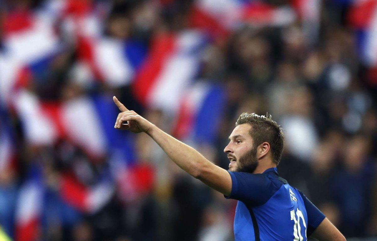 André-Pierre Gignac après son but lors de France-Russie (4-2), le 29 mars 2016 au Stade de France.  – Francois Mori/AP/SIPA