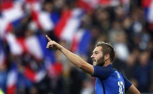 André-Pierre Gignac après son but lors de France-Russie (4-2), le 29 mars 2016 au Stade de France.