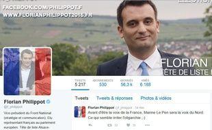 Le compte Twitter de Florian Philippot compte 56.300 abonnés.