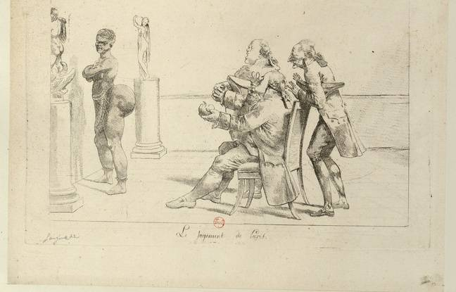 Une autre estampe montre des scientifique observant le postérieur de Saartje Baartman.