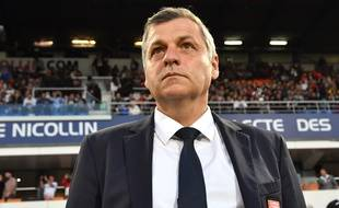 Bruno Genesio, ici à Montpellier, est sous contrat jusqu'en 2019 avec l'OL. PASCAL GUYOT