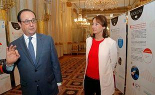 François Hollande et Ségolène Royal à l'ouverture de la conférence environnementale le 25 avril 2016 à Paris