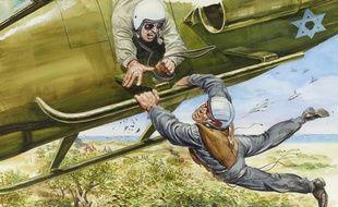 «Récupération in extremis d'un soldat israélien cerné par l'ennemi», dessin d'Angelo Di Marco.