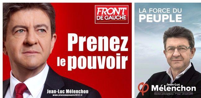 Collage des affiches de campagne de Jean-Luc Mélenchon pour les présidentielles de 2012 et de 2017